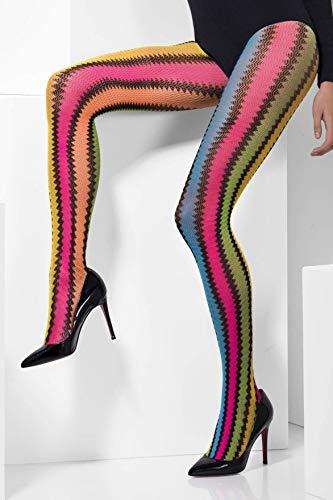 Smiffys 41302 - Tights Neon Häkeln mit Zickzack-Muster, mehrfarbig