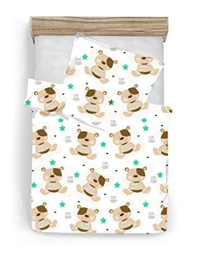 BABEES© Premium Kinder Bettwäsche mit Reißverschluss Deckenbezug 100x135 mit Kissenbezug 60x40, Bettwäsche-Set Bettbezug 100% Baumwolle natur Ökotex Babybettwäsche Kinderbettwäsche (TEDDY) (Baby Mädchen Teddy-bettwäsche-set)