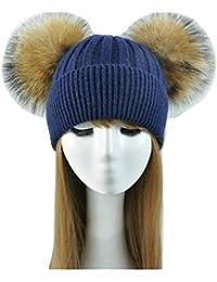 Cappello Cashmere Doppio PON PON Pelliccia Cappellino Cuffia Donna Uomo Bambina  Bambino Hat Fur Murmasky Woman 932e54d0d310