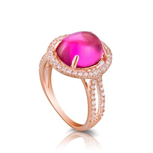 Fashion Plaza-Anello ovale Oro con bordo orlato a grande, Lega, 16, colore: rose gold, cod. R438-8