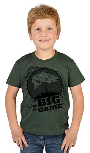 Hochseeangeln Kinder Angler T-Shirt, Kinder-Shirt Motiv Angel-Sport : Big Game,- Bekleidung Kinder Angeln, Coole Sprüche Gr: S = 122-128
