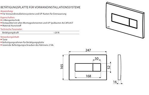 WC Vorwandelement für Trockenbau 100 cm inklusive Betätigungsplatte Chrom Matt Typ Quadro Mini Unterputzspülkasten Spülkasten Wand WC hängend Schallschutz