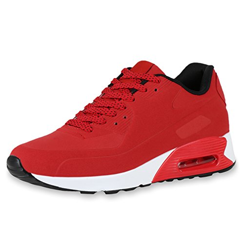 Japado Herren Schuhe Runners Laufschuhe Sportschuhe Sneakers Trendfarben Rot Red 43