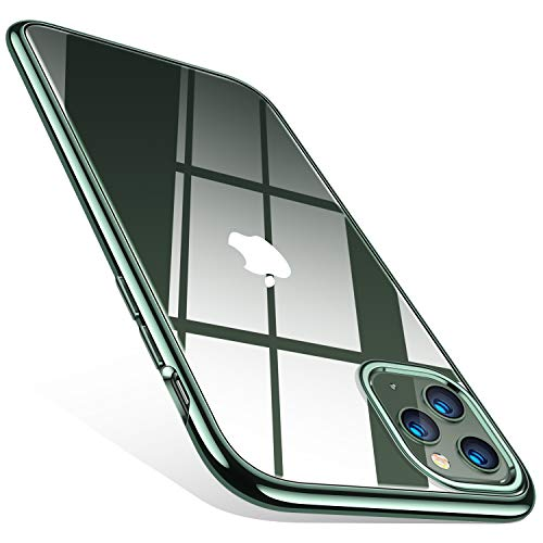 TORRAS Crystal Clear iPhone 11 Pro Hülle, Transparent [Anti-Gelb] Dünn iPhone 11 Pro Case Schutzhülle Silikon Klar Slim Stoßfest Clear Bumper Cover Handyhülle für iPhone 11 Pro - Nachtgrün -