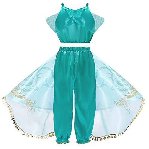 Hope Aladdin Lampe Prinzessin Jasmin Kostüm Cosplay Kleidung Mädchen Halloween Kostüm Party Outfit 3-8 Jahre,Green-140 cm
