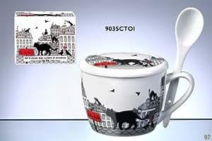 FoxTrot 9035CTOI Bol à Soupe Motif Chat Toit Porcelaine 6,5 x 10 cm