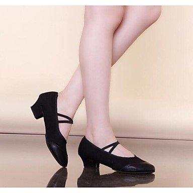 Silence @ Chaussures de danse pour femme moderne Cuir/Toile Talon Plat Noir/rouge Red