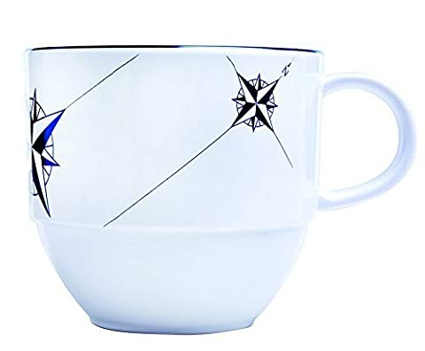 MB Coastal Designs Northwind Nautical Shatter Proof Tea Cup and Saucer, Navy Blue/White, Set of 6 by MB Coastal Designs