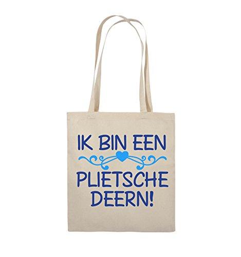 Comedy Bags - IK BIN EEN PLIETSCHE DEERN! - Jutebeutel - lange Henkel - 38x42cm - Farbe: Schwarz / Weiss-Hellblau Natural / Royalblau-Hellblau