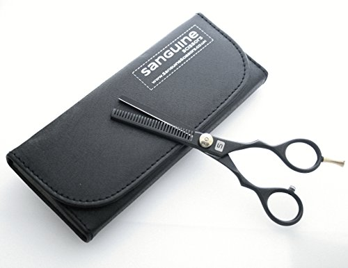 Professional Hairdressing Thinning Scissors 5.5 inch, DEEP BLACK + Case