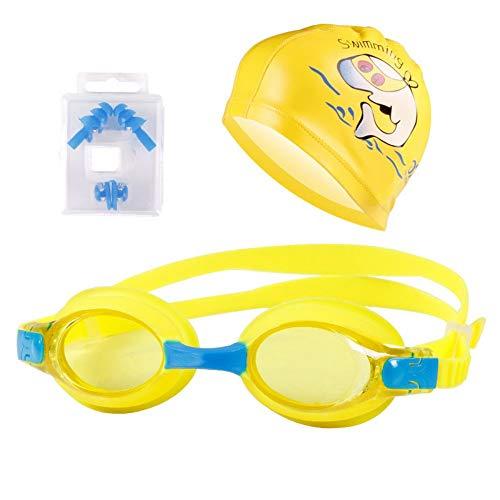 Schwimmbrillen für Männer Frauen Mädchen Kinder Schwimmen dreiteilige PU-Badekappe Ohrstöpsel Nasenclip Kinder Schutzbrille Anzug gelb Schwimmbrille mit Antibeschlag und UV Schutz