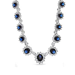 Bling Jewelry Inspired By Royal Simulated Sapphire CZ Crown Necklace Rhodium Plated