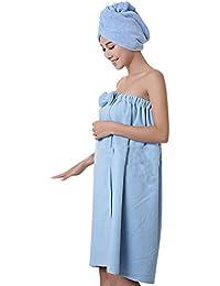 ZiXing Ducha de microfibra cabello seco toalla de baño de rápida Cap Natación Pareo Chal albornoz ajustable Spa Cover Up