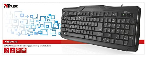 Trust ClassicLine Tastatur (spritzwassergeschützt, leiser Tastenanschlag, USB, QWERTZ, deutsches Tastaturlayout) schwarz - 6