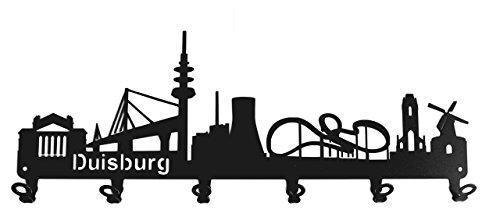 steelprint.de Wandgarderobe - Skyline Duisburg - Flurgarderobe - NRW - Kleiderhaken, Hakenleiste, Garderobeneiste, Garderobenhalter, Garderobe - Metall, Schwarz