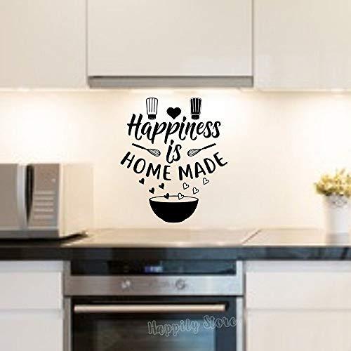 TYLPK Happiness è un adesivo poster in vinile per la casa fatto in casa nero 57X66 CM
