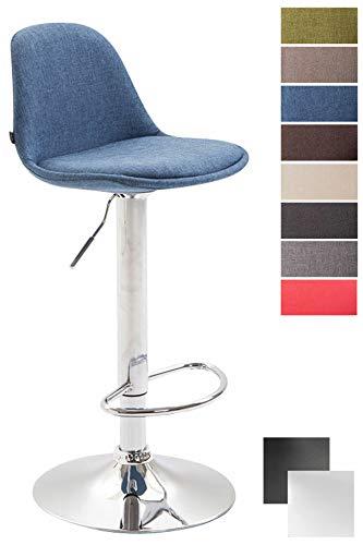 Clp sgabello design kiel in polipropilene e tessuto - sgabello da cucina girevole e con regolabile - sgabello bar imbottito con poggiapiedi blu cromato