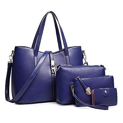 SIFINI Femmes Mode PU Sac à main en cuir + sac à bandoulière + sac à main + titulaire de la carte 4pcs Set fourre-tout