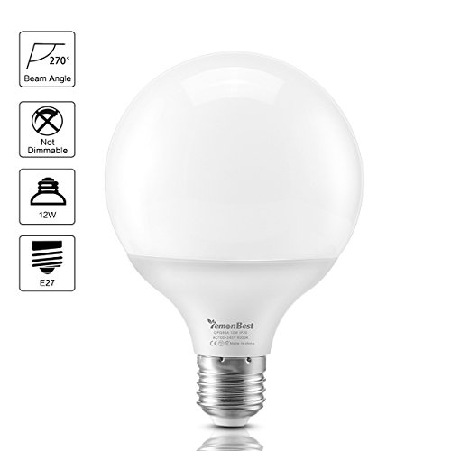 1100 Lumen LED Globe Glühbirnen, ONEVER E27 Base Globe Kosmetik Make-up-Spiegel Lampen Birne 80W Globe Bulb Äquivalent 270 ° Uniform Light Warm White, AC 100-240V (1) -