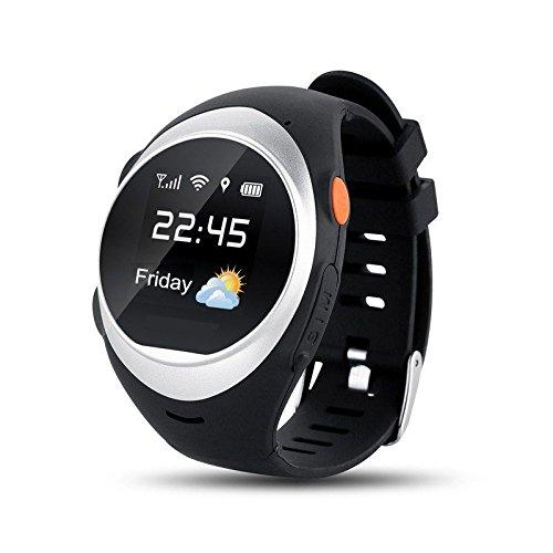 FAIRTEK Pro-Mobile F8 ® Senioren & Kinder GPS,LBS,WiFi Notrufuhr Notrufmelder Ortungsgerät Tracker Ortung GeoZaun Notruf Uhr,Sturzsensor,SOS-Taste(GPS-Tracking-Portal kostenlos inbegriffen!) (Silber)