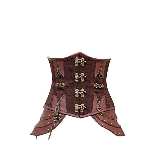 -Korsage Braun mit Totenköpfen Corsage Damen Kostüm, Größe:XL (Nummer-eins-halloween-kostüm Für Erwachsene)