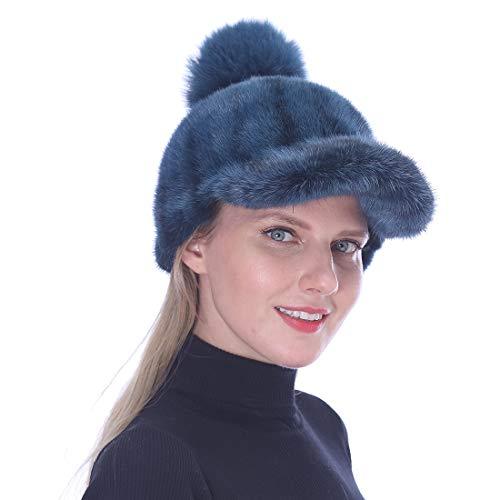 URSFUR Damen Real Mink Pelz Mütze mit Visier Baseball Caps,Winter Warm Ball Cap Mit Fuchspelz Ball - Grau -