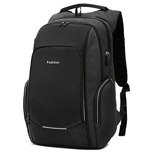 Xnuoyo Anti-Diebstahl Laptop Rucksäcke 15.6 Zoll Handtasche Herren Damen Schulrucksack mit Schloss, USB Anschluss und Headphone Port, Schultertasche mit Croßem Laptopfach und Zubehörfächer (Schwarz)