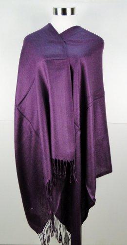 Yinglite couleur élégante viscose /Pashmina Echarpe Châle écharpe Tassels, Echarpe Foulard Grands Mousseline de Mode pour Fille Femme B- Violet foncé