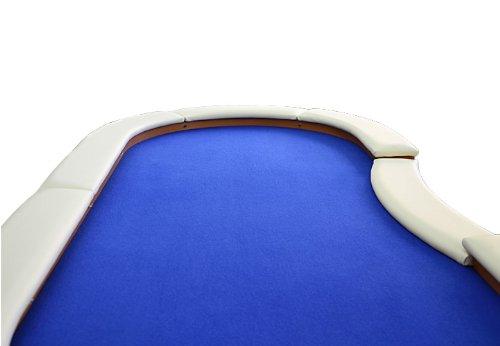 Nexos Pokertisch massiv Casinotisch aus Holz für Poker mit blauem Filzbezug weißen Armlehnen und LED Beleuchtung für 10 Spieler 213 x 105 cm - 2