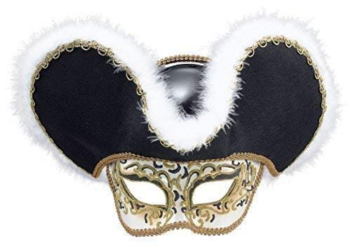 Fancy Me Herren Damen Highwayman Maskenball Piraten Mardi Gras Halloween Karnevalskostüm Maske & Hut (Mardi Gras Hüte Und Masken)