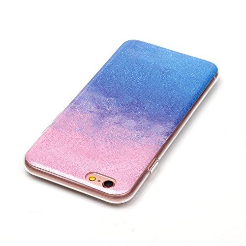 """OuDu iPhone 6 PLUS/6S PLUS (5.5"""") Hülle, Glitzern Funkeln Hülle TPU Silicone Etui für iPhone 6 PLUS/6S PLUS (5.5"""") Bling Glitter Case Sparkle Style Cover Soft Lightweight Bumper Flexible Schlanke Scha Rosa & Blau"""