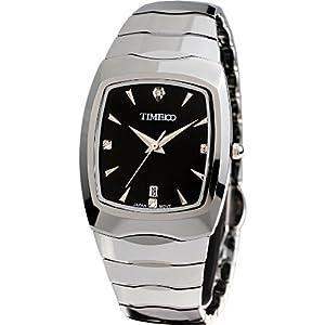Time100-Reloj de pulsera hombre de acero de tungsteno con blaum Cristal de Piedras Preciosas y calendario w50029g por Time100