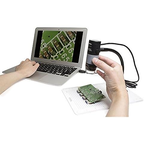Plugable® USB 2.0 Microscopio Digitale con Stand di Osservazione con Braccio Flessibile per Windows, Mac, Linux (2MP, Ingrandimento 10x-250x)