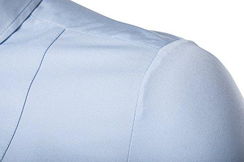Kuson Homme Chemise Manches Longues Slim Fit Couleur Uni Infroissable sans Repassage Bleu Clair