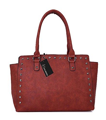 Kukubird Yumi Ecopelle Versatile Design Con Borchie Top-manico Spalla Tote Handbag Red Brown