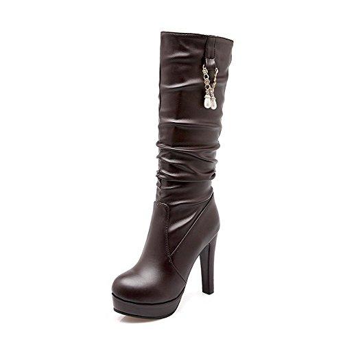 AgooLar Damen Niedriger Absatz Gemischte Farbe Ziehen auf PU Rund Zehe Stiefel, Gelb, 37