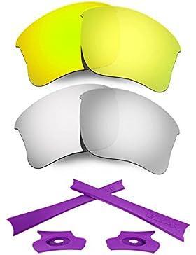 HKUCO 24K Gold/Silver Polarized Replacement Lenses and Purple Earsocks Rubber Kit For Oakley Flak Jacket XLJ Sunglasses