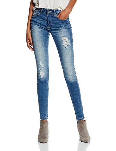 VERO MODA Vmseven NW Sup Slim Destroy Jeans AM654, Blu Donna, Blau (Medium Blue Denim Medium Blue Denim), W26/L32