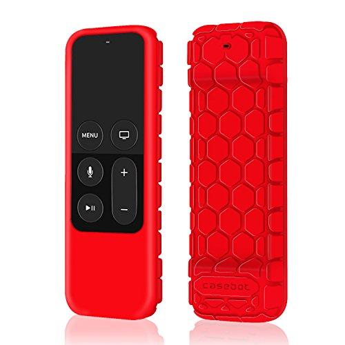 Fintie Remote Hülle für Apple TV 4K / 4th Generation Siri Fernbedienung - [Bienenstock Serie] Leichte Rutschfeste Stoßfeste Silikon Schutzhülle Tasche Case Cover, Rot (Apple Router)