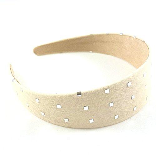 rougecaramel - Accessoires cheveux - Serre tête/headband large uni avec motif carré argenté - beige