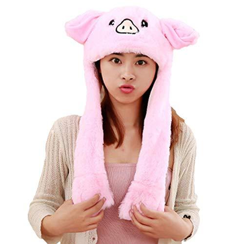 Libertry bewegliche Hasenohren Hut drücken und bewegen Glühen und Musik Weihnachten Hut niedlichen Plüsch Airbag Cap für Frauen und Kinder (Papier Hut Drücken)