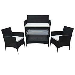 SVITA Poly Rattan Sitzgruppe Essgruppe Set Farbwahl - Cube Sofa-Garnitur Gartenmöbel Lounge Farbwahl (4er Garnitur, Schwarz)