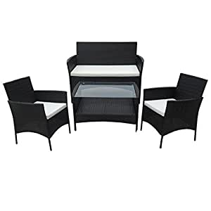 poly rattan lounge gartenset schwarz sofa. Black Bedroom Furniture Sets. Home Design Ideas