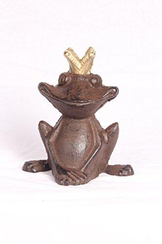 Gusseisen Frosch Froschkönig Metall braun Garten Deko Teich Skulptur Figur