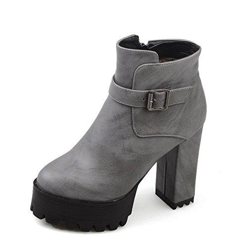 AllhqFashion Damen Hoher Absatz Naht PU Leder Reißverschluss Stiefel, Grau, 34