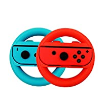 Steering Wheel Controller Set of 2, Joy-Con Wheel Handle Grips for Nintendo Switch. ( Blue and Red )