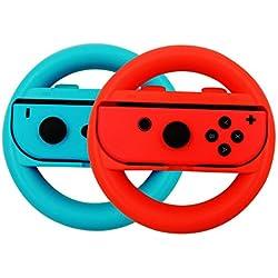 Nintendo Switch Controller per volante Set di 2, Joy-Con Wheel Manopole per Nintendo Switch. (Blu e rosso)