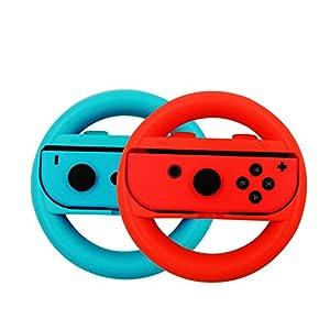 Nintendo Schalter Lenkrad Controller 2er Set, Joy-Con Lenkradgriffe für Nintendo Switch. (Blau und rot)