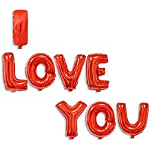 cadillaps 13pcs globos Happy Birthday I Love You alfabeto letras aluminio, rojo, 8pcs