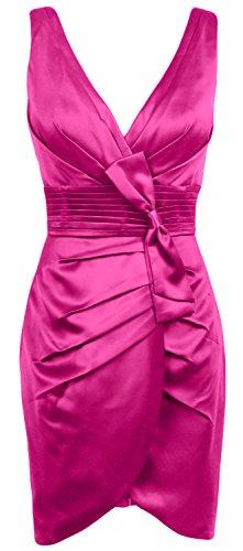 MACloth Women V Neck Satin Short Bridesmaid Dress Formal Evening Party Gown Fuchsia